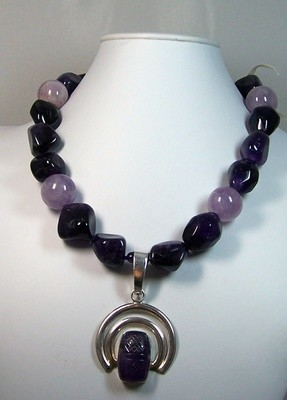 Amethyst nugget necklace with sterling & amethyst pendant, fancy amethyst & silver clasp