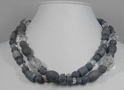 Blue Sponge Coral & Crystal Sodalite Pendant Necklace