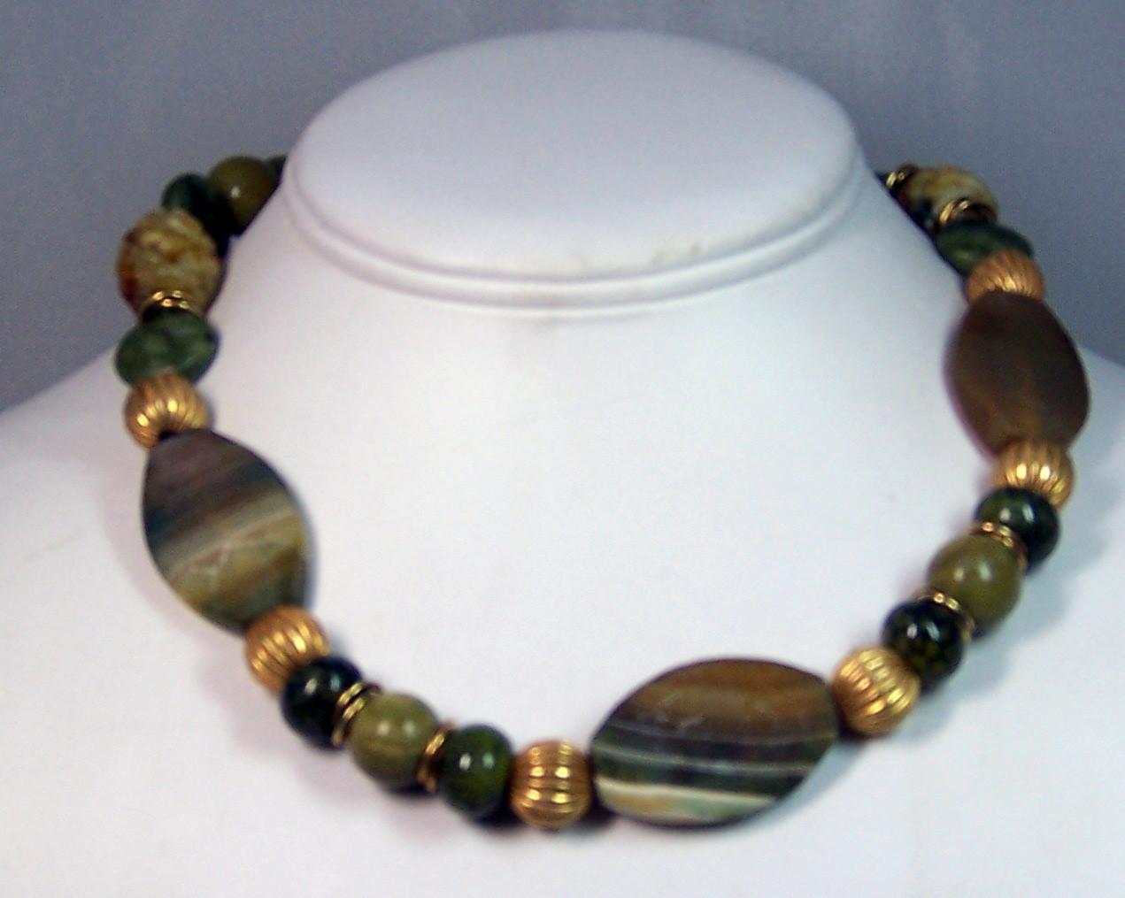 Jasper, jade & agate necklace
