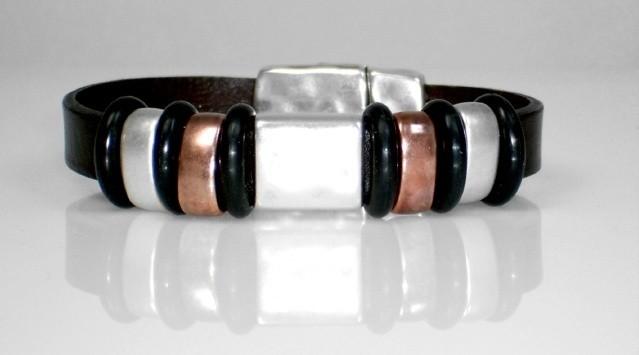 Black brown flat leather bracelet