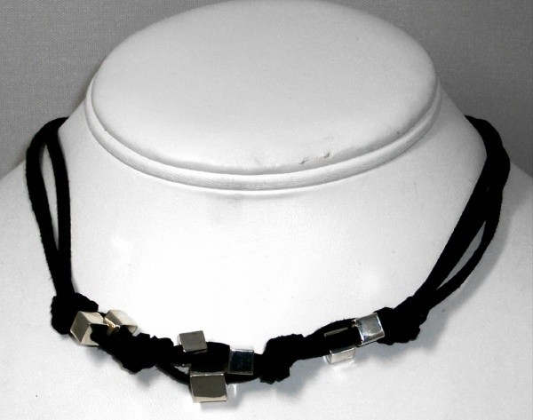 Leather & silver necklace