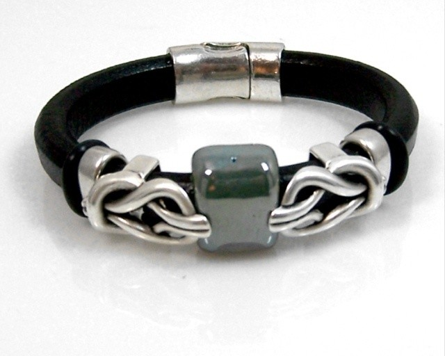 Leather bracelet w/silver & ceramic   findings