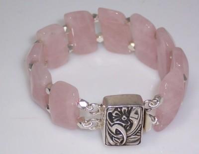 Rose quartz & silver bracelet