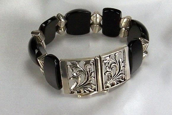 Onyx And Silver Bracelet
