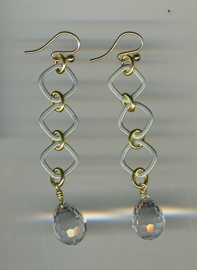 Sterling & Vermeil earrings with faceted crystal briolets