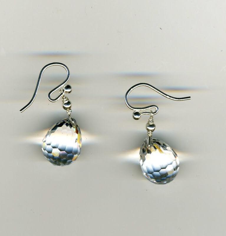 Crystal Briolets & Silver Earrings