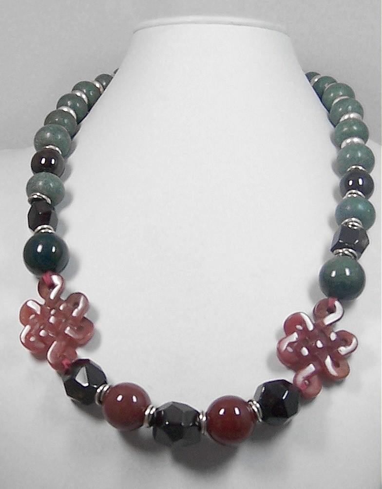 Garnet, Carnelian & Jade necklace