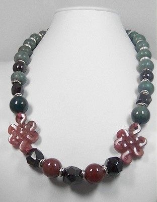 Garnet, Carnelian & Jade necklace