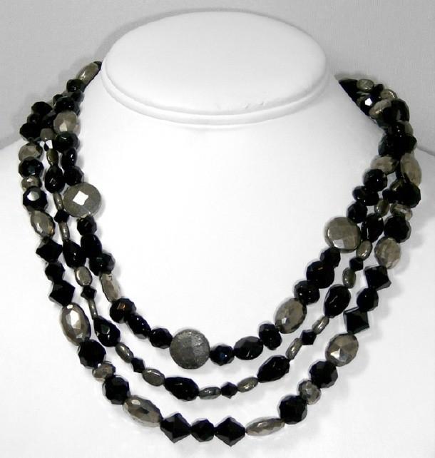 Onyx & pyrite necklace