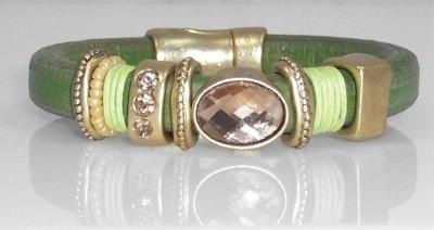 Olive Green Leather Bracelet