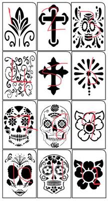 A4 Day Of The Dead Stencils All 12 Designs