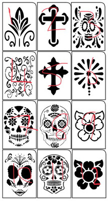 A4 Day Of The Dead Stencils 3 Pieces