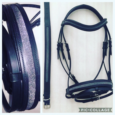 Leather glitter bridle without reins