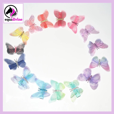 15 piece clip in butterflies for mane & tail