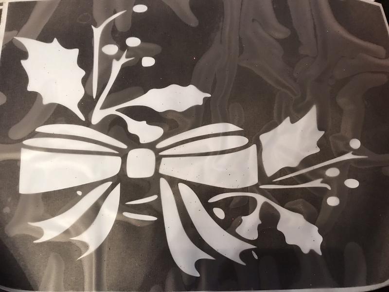 A4 stencil Christmas bow