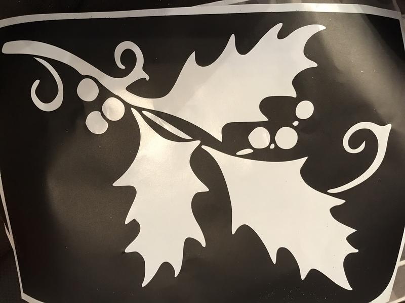 A4 Christmas stencil holly