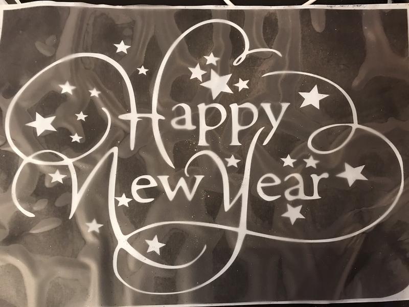A4 Christmas new year stencil