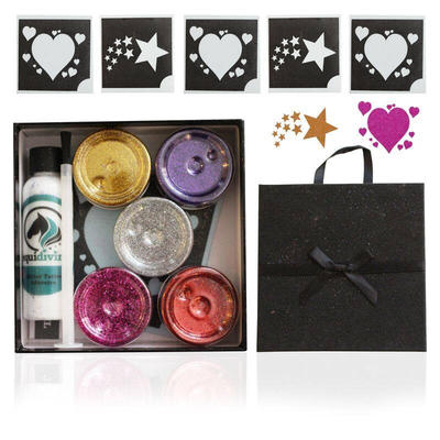 Stars & Hearts large glitter tattoo set
