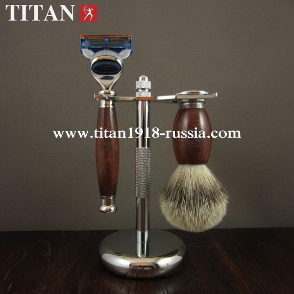 Классический бритвенный набор TITAN (Япония), Fusion 5 (Gillette fusion), красное дерево с Мадагаскара: 12775017