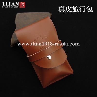 Защитный футляр TITAN (Япония) для опасной бритвы (бритвенного станка и помазка) из натуральной кожи