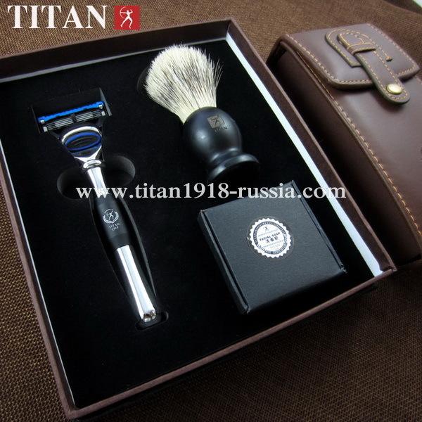Подарочный бритвенный набор (3 предмета) TITAN (Япония), с бритвой Fusion 5 (Gillette fusion), помазком и мылом