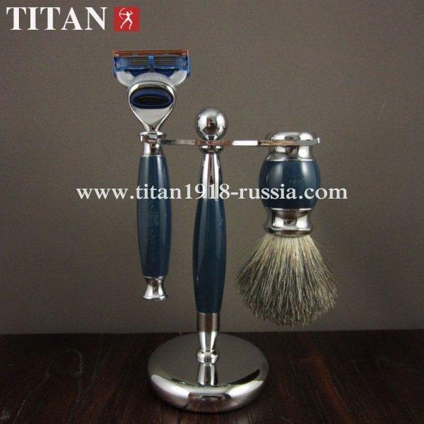 Классический бритвенный набор TITAN (Япония), Fusion 5 (Gillette fusion), с бритвой и помазком
