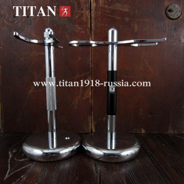 Металлическая подставка (стенд - держатель) TITAN (Япония) для бритвенного станка (безопасной бритвы) и помазка