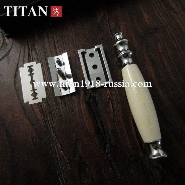 T - образный классический бритвенный станок TITAN (Япония), белая смола: 12778033