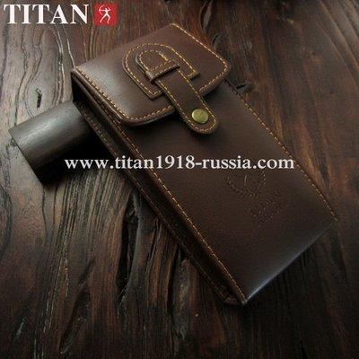 Защитный футляр TITAN (Япония) для опасной бритвы (бритвенного станка и помазка) из искусственной кожи