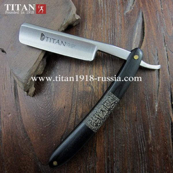 Опасная бритва TITAN, черное африканское дерево. Сталь клинка: Japan ACRM-2, 59-61 HRC