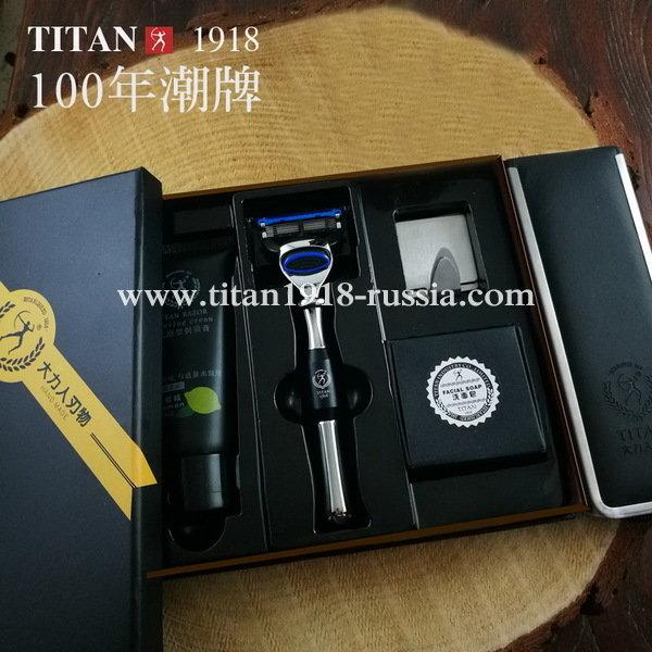 Классический бритвенный набор TITAN (Япония), Fusion 5 (Gillette fusion) с бритвой и помазком