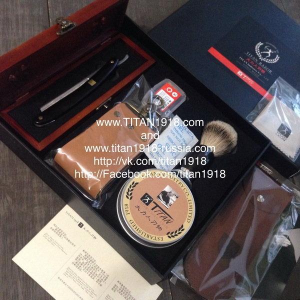 Подарочный бритвенный набор с опасной бритвой Japan ACRO Damascus steel (Дамасская сталь) (8 предметов), TITAN (Япония): 12975676