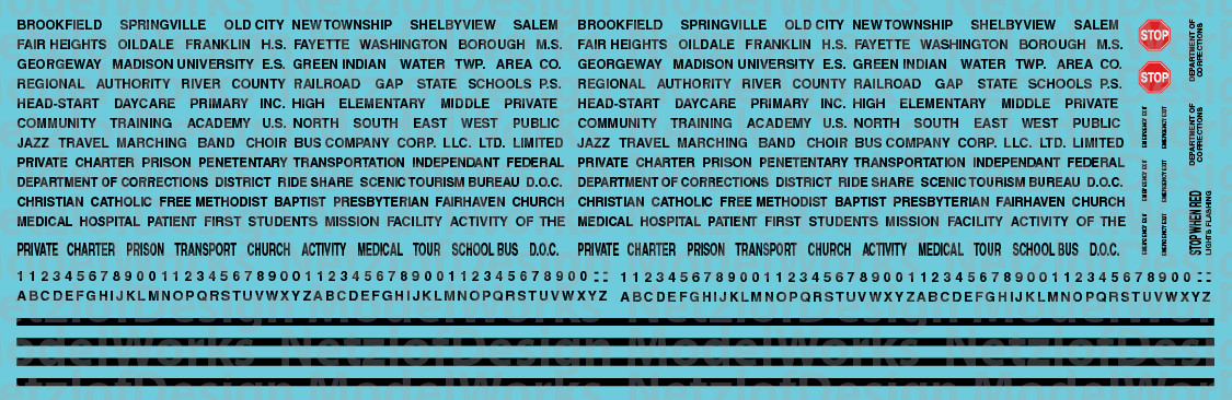 N Scale - Generic School Bus Decals