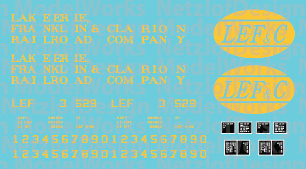 Lake Erie, Franklin & Clarion 100T 3 panel Logo Hopper Decal Set