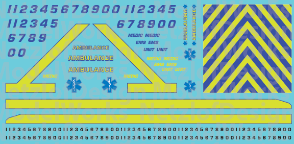 HO Scale Generic Ambulance Decals - Yellow