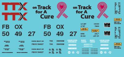 TTX Railbox Pink On Track for a Cure Box Car - FBOX 504927