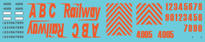 HO Scale - ABC Railway GP40 Locomotive Decals