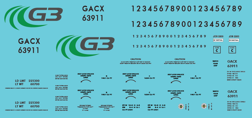 G3 Canada Covered Hoppers Decal Set