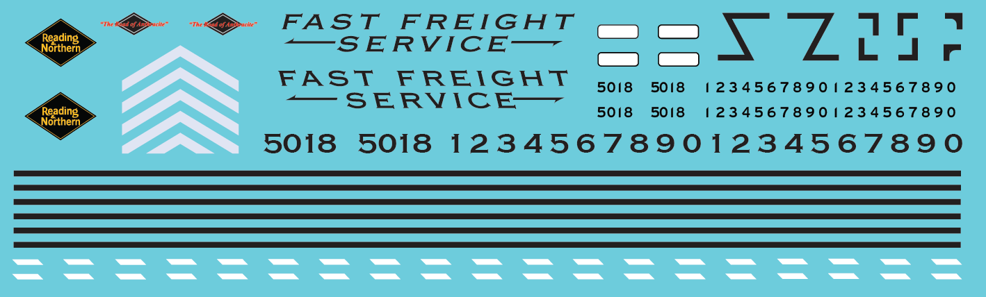 Reading & Northern Fast Freight SD50 Decal Set