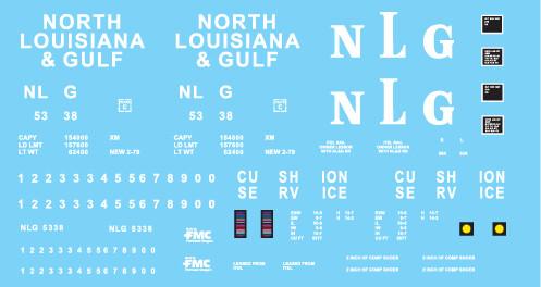 North Louisiana and Gulf Railroad 50' Boxcar Decals (NLG)