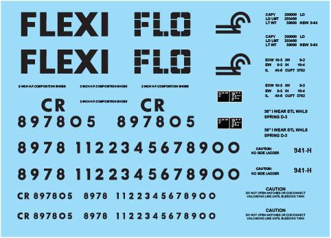 Conrail Flexi-Flo Covered Hopper Decal Set
