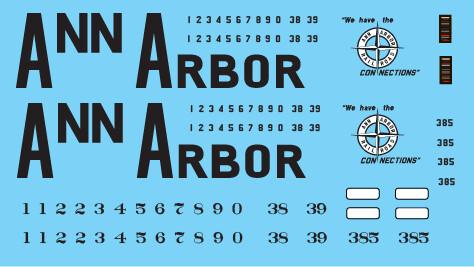 Ann Arbor Big Letter GP35 Decal Set