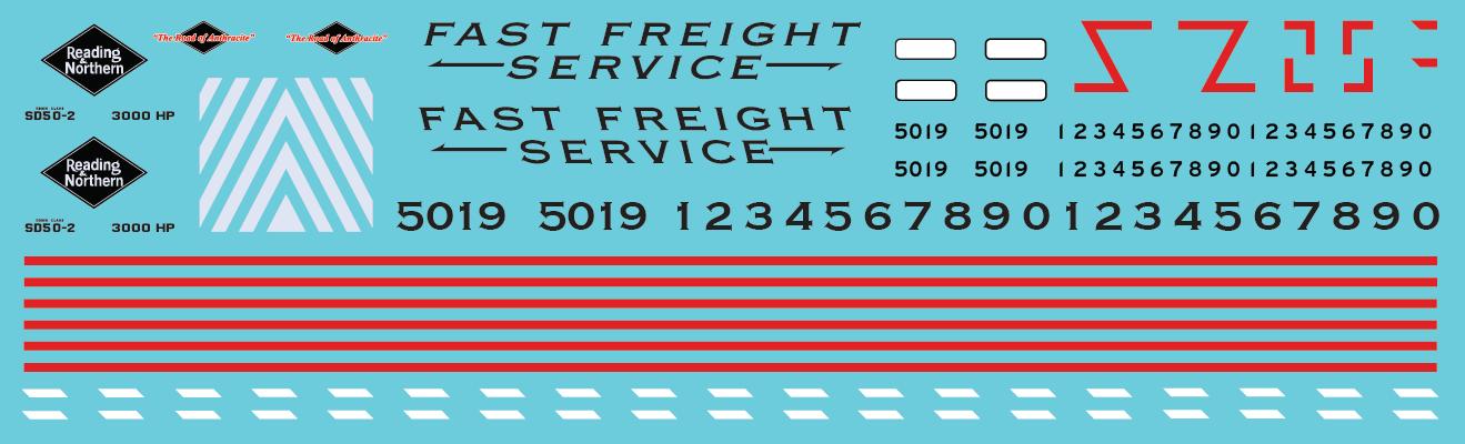 Reading & Northern Fast Freight SD50 Black/White Scheme Decal Set