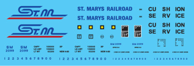 HO Scale - St Mary's Railroad Box Car Yellow Scheme Decal Set