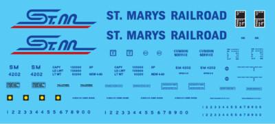 HO Scale - St Mary's Railroad Box Car White Scheme Decal Set