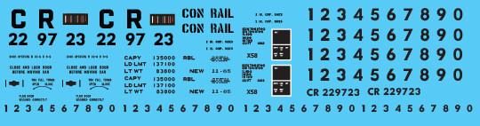 Conrail X58 Box Car LV Patch Out 2 Decal Set