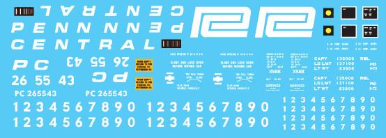 Penn Central X58 Box Car 2 Line Large Logo Decal Set
