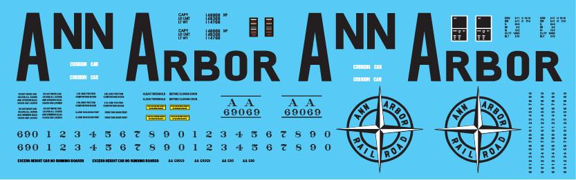 Ann Arbor Auto Parts Box Car Big Letters Scheme Decals