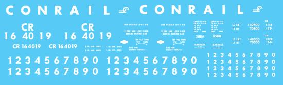 Conrail X58 Box Car Small Logo Decal Set