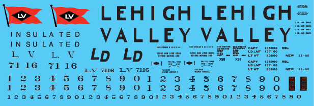 Lehigh Valley X58 White Box Car Decal Set